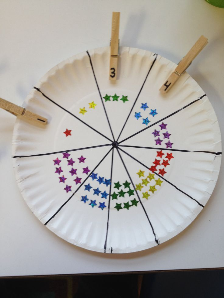 Fine Motor Counting stars or dots on a paper plat plus clothes pins with numbers.
