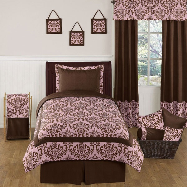 nicole pink and brown damask bedding by sweet jojo designs