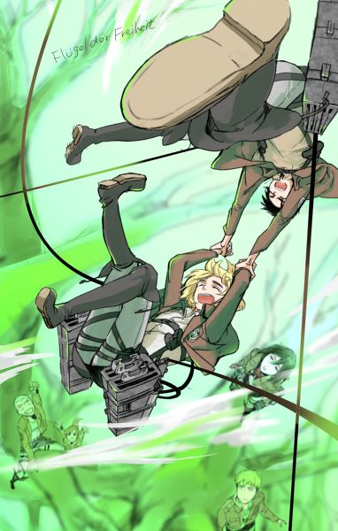 Eren and Armin attempting a crazy stunt. I'm sure Eren put him up to it.
