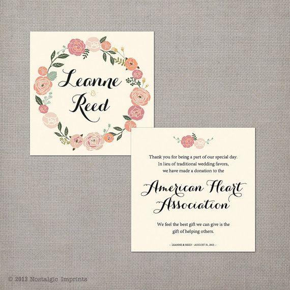50 Wedding Favor Donation Cards  the Leanne by NostalgicImprints