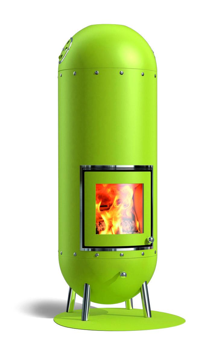 Deze Genius is in Limoen groen een echte aandachttrekker. Uit de serie injectiekachels van NunnaUuni. www.haardenimport.nl