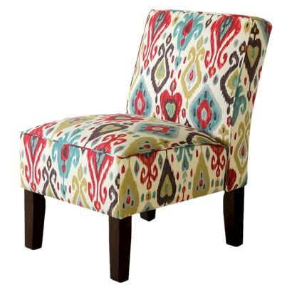 Burke Armless Slipper Chair - Brown/Red/Blue Ikat