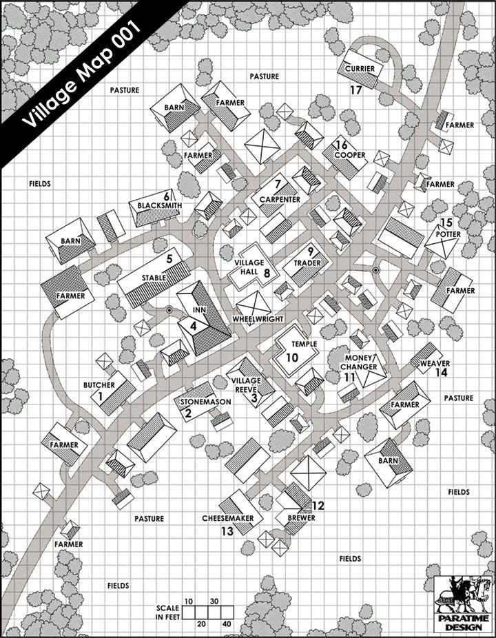 Village Map 001 - Paratime Design | DriveThruRPG.com