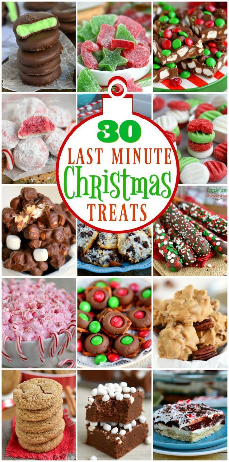 30 Last Minute Christmas Treats that you can make just in time for Christmas! Lots of great recipes here that take just a handful of ingredients and less than 15 minutes! // Mom On Timeout #Christmas #recipes #dessert #candy #treats