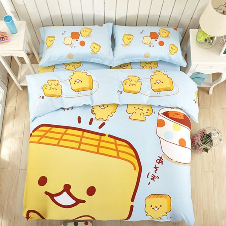 Cartoon Kids Bed Sheet 4PC Comfortable 100% Cotton Twin Fitted Bedding Sets,Bread Print Child Queen Bed Cover //Price: $37.27 & FREE Shipping //     #hashtag3