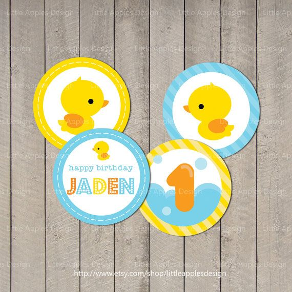 Duck Cupcake Topper / Rubber Duck Cupcake by LittleApplesDesign, $5.50