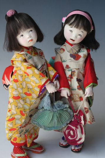 Examples of the artist's sculptural cloth art dolls, made with molded felt and other fabrics to create expressions that fall somewhere between traditional Japanese anime and manga characterizations and realistic expressions of children, Japan, 2000-10, by Mieko Minazumi.