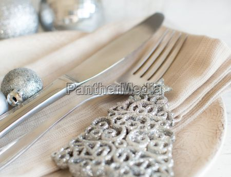 Silver and cream Christmas Table Setting -  Royalty Free Stock Photo - 18975075
