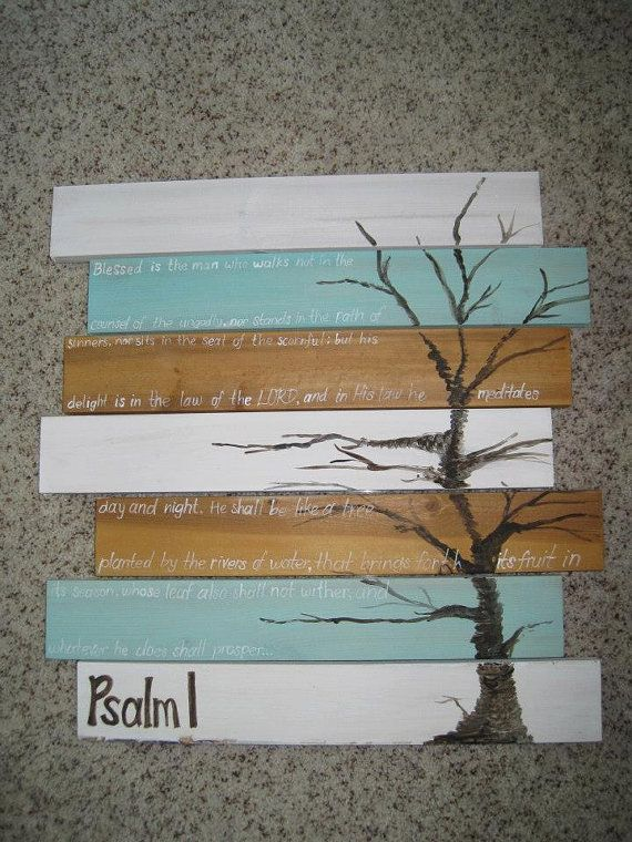 Tree painting based off Psalm 1 (painted on pine boards) on Etsy, $48.00