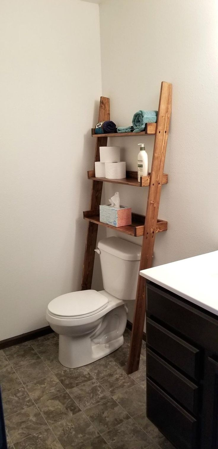 Over the Toilet Ladder Shelf / Over the Toilet Storage / | Etsy   – Bathroom picks