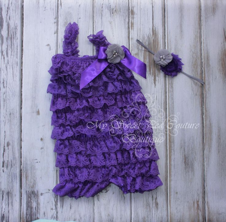 Purple Embelished Lace Romper & Headband Set- First Birthday Outfit- Petti Romper- Cake Smash Outfit- Newborn Petti Romper- Headband by MySweetPeaCouture on Etsy