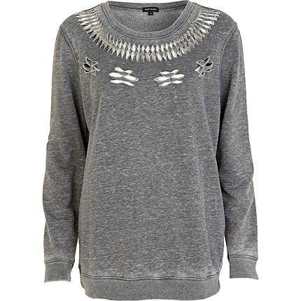 Grey cut out pattern oversized sweatshirt $30