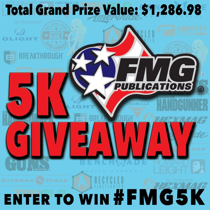 Instagram Giveaway: FMG Publications has officially reached 5k followers on Instagram! | While this is Instagram entries only, you're going to want to enter! The grand prize package has a total value of $1,286.98 with a bonus prize package of $721.68, plus 10 other prize packages! | http://gunsmagazine.com/?p=44274