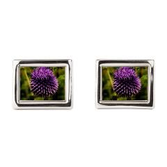 Purple Thistle Rectangular Cufflinks