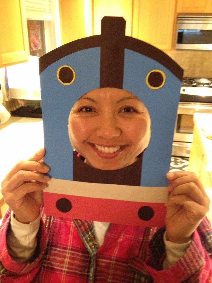 Such a cute photo op at a Thomas the train birthday. Everyone had fun making their best Thomas face!!!