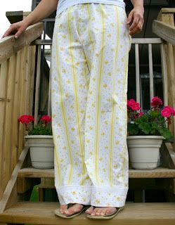 How to use old bedsheets to upcycle into nice sleep pants! Great recycle project.