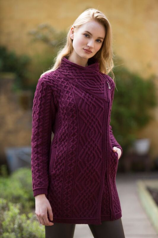Side Zip Aran Coat by Natallia Kulikouskaya for Arancrafts of Ireland