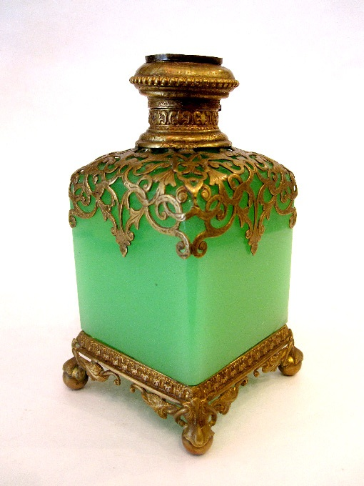 French 19th Century green opaline glass scent bottle