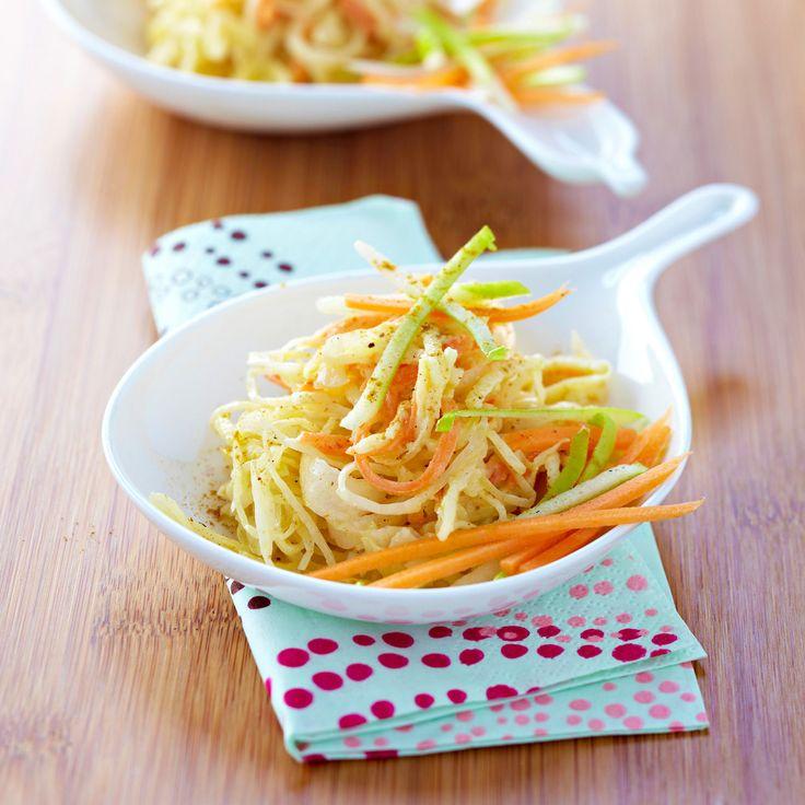 Découvrez la recette Salade rafraîchissante au chou blanc pomme et carotte sur cuisineactuelle.fr.