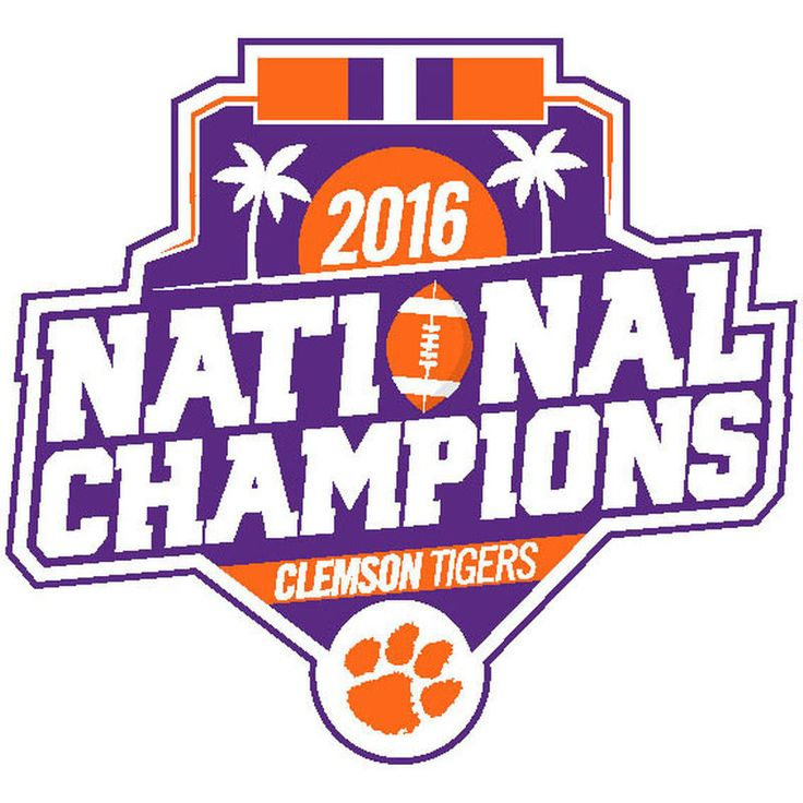 """Clemson Tigers College Football Playoff 2016 National Champions 4"""" x 4"""" Logo Decal"""