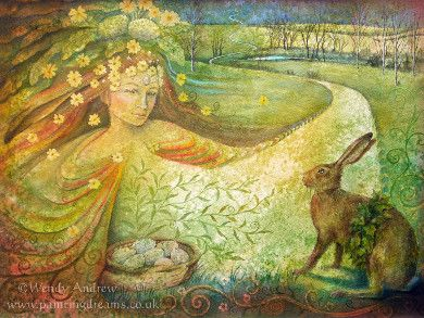 "Eostre at Spring Equinox by Wendy Andrew. (From the Luna Moon Hare series)  ""It's good to see that you are full of the joys of spring! I am Eostre and your journey has brought you here to Ostara. It is the Spring Equinox."""