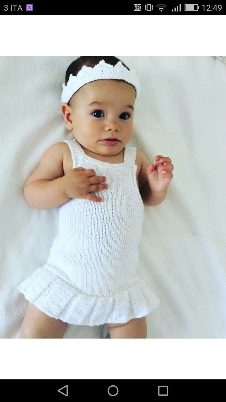 Knit Tutu Dress Swan Lake for baby girl. Tutu neonata ballerina bianco