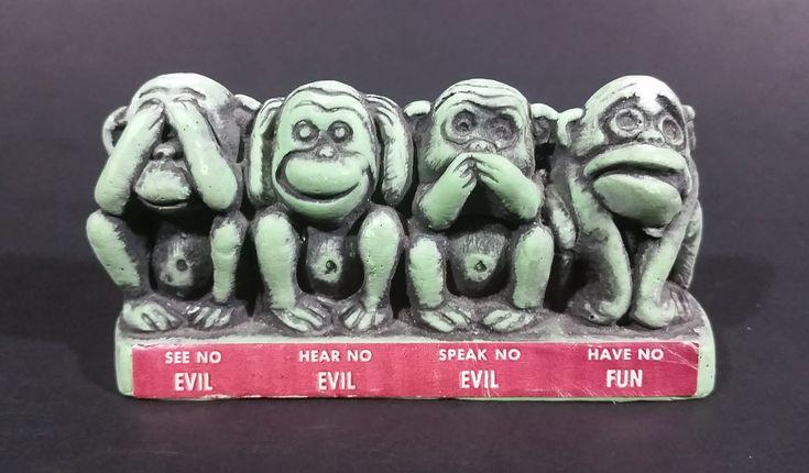 Vintage Cal Themes Inc. 1968 4 Wise Monkeys See No Evil Have No Fun Green Chalk Ware Figurine https://treasurevalleyantiques.com/products/vintage-cal-themes-inc-1968-4-wise-monkeys-see-no-evil-have-no-fun-green-chalk-ware-figurine #Vintage #CalThemes #1960s #60s #Sixties #Wise #Monkeys #SeeNoEvil #HearNoEvil #SpeakNoEvil #HaveNoFun #Chalkware #Figurines #Decorations #Ornaments #Collectibles