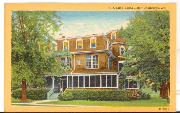 Undated Unused Postcard Oakley Beach Hotel Cambridge Maryland MD