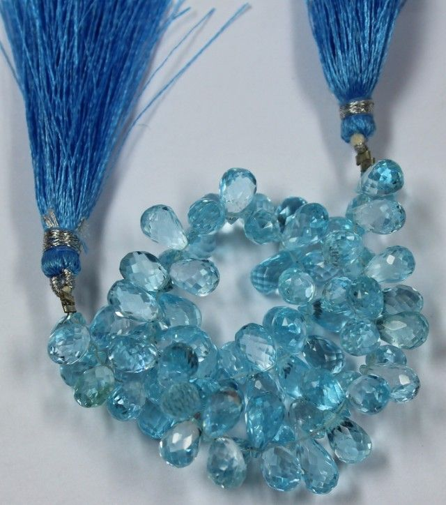 190 CTS -1 STRAND TOPAZ BEADS 10 X 5 MM -7 INCHES