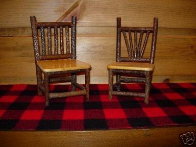 Rustic Miniature Twig Chair Set Log Cabin Adirondack