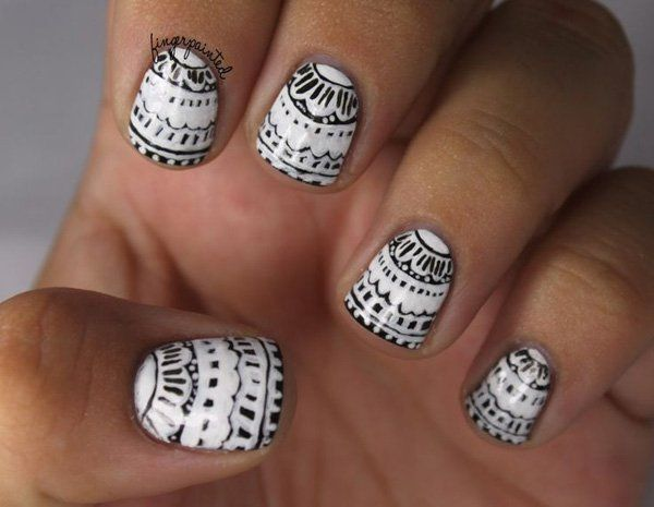 19 black and white nail art
