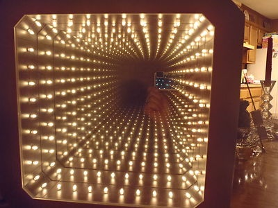 Vintage Infinity Mirror Retro Illusion Tunnel Box Mid