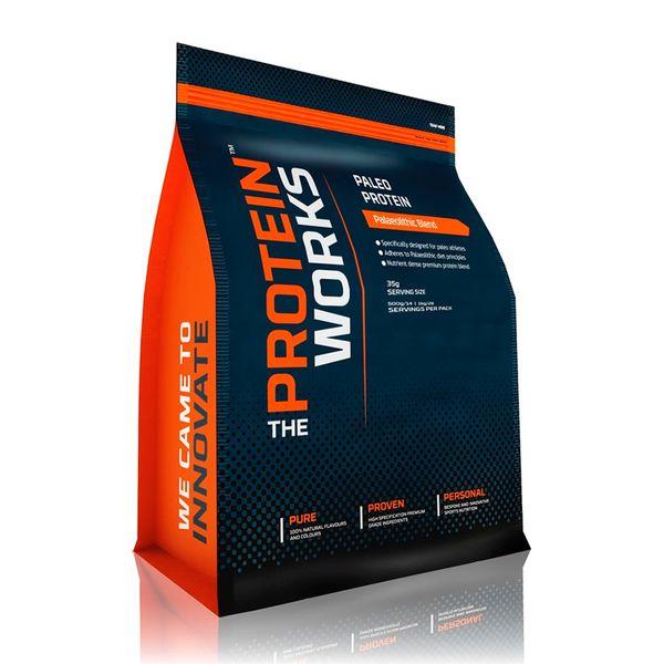 Paleo Protein - The Protein Works - Benefícios Chave - 58% teor proteico - Especificamente concebido para atletas em dieta paleo. - Cumpre os princípios da dieta paleolítica. - Mistura única de vegetais e frutas em pó. - Alto teor proteico que ajuda no crescimento muscular.