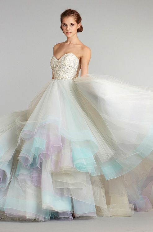 This rainbow #wedding dress from Lazaro is the most popular dress we've ever posted here on Pinterest! We love that you love it (because we love it too ♥) Click through to see the back of the dress.