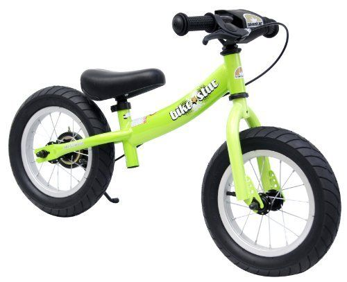 bike*star 30.5cm (12 Inch) Kids Learner Balance Beginner Run Bike Sport - Colour Green by Star-Trademarks. $79.99. 12 inch Sport No Pedal Balance Bike (Running Bike)  The balance bike the perfect tool to encourage young riders to gain the confidence and skills needed to master the art of cycling.   By removing the pedals, this allows the child to work on balance and coordination while walking/gliding on the bike.  Within a short time they will have the confidence ...