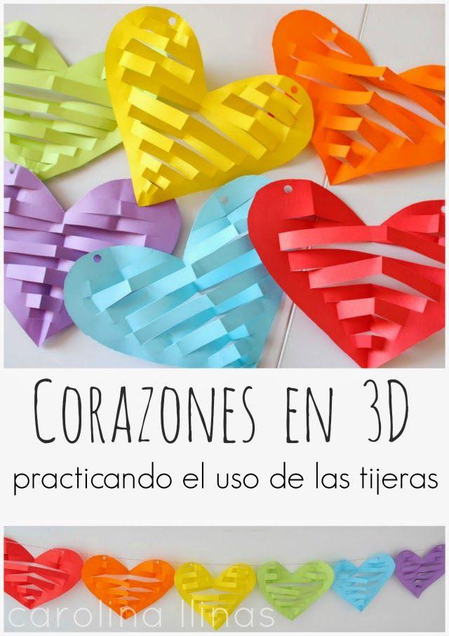 Corazones en 3D para decorar y una actividad donde los niños de edad preescolar pueden practicar el uso de las tijeras.