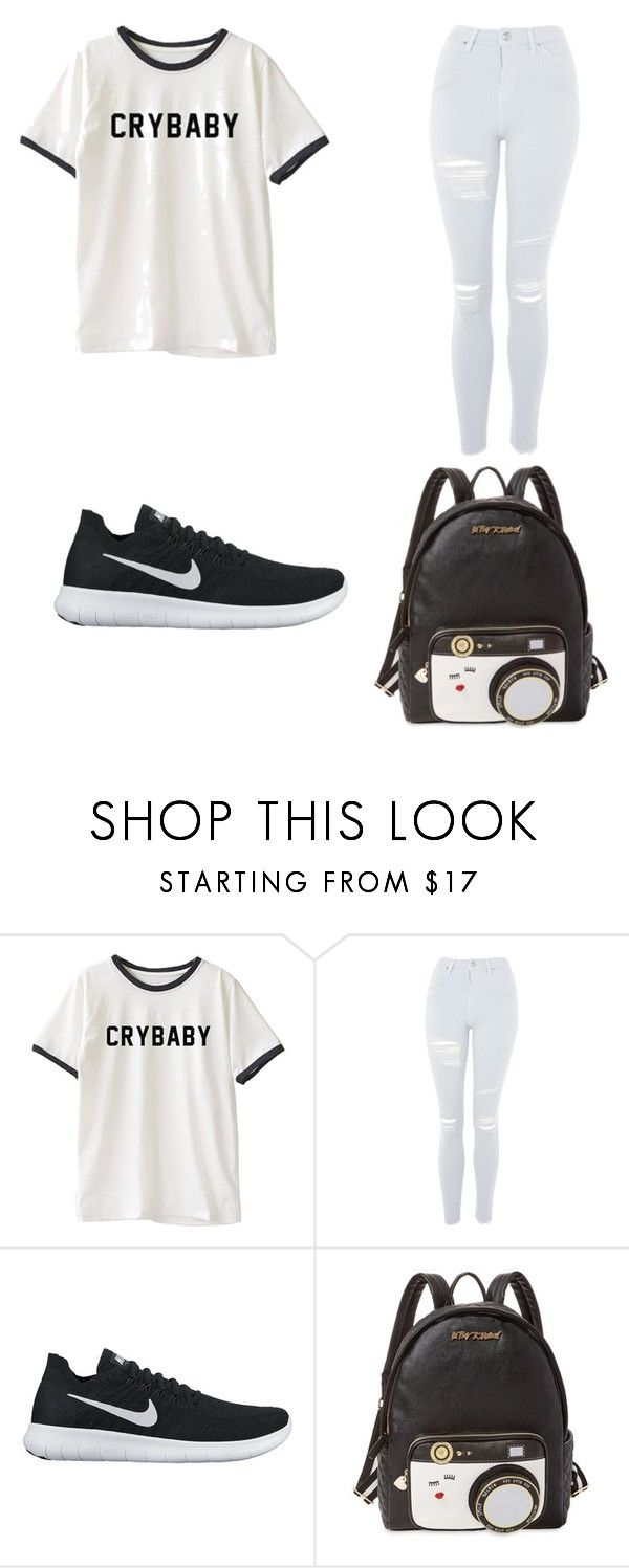 """""""Untitled #7"""" by nesiv ❤ liked on Polyvore featuring Topshop, NIKE and Betsey Johnson"""