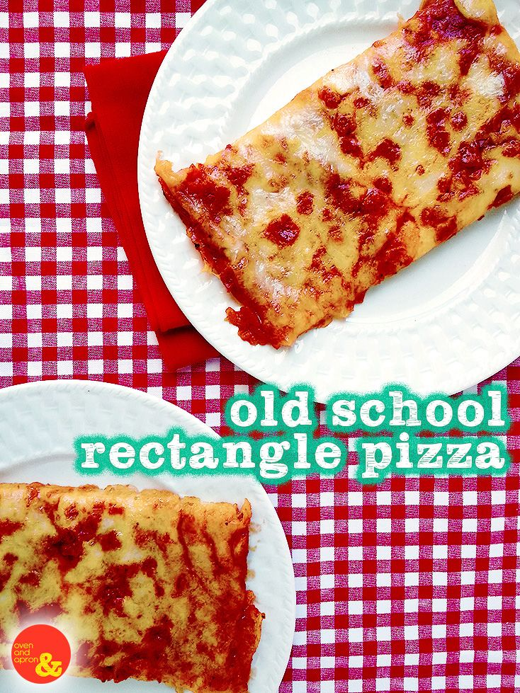 Old School Rectangle Pizza: Your favorite #cafeteria lunchtime treat, full of pepperoni and cheese goodness! #backtoschool