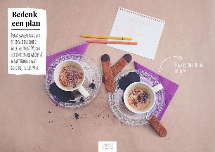 Bedenk samen met je partner een plan voor jullie bruiloft. Droom groots! Lees meer op onze site: www.girlsofhonour.nl.