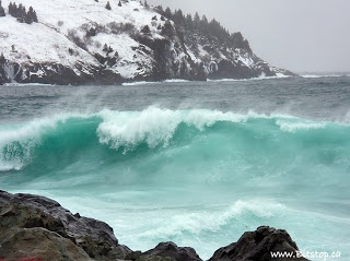 Waves and land; Middle Cove, Newfoundland; Photo by Bitstop