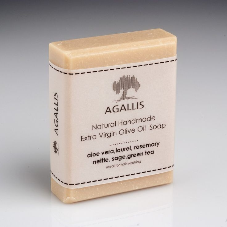 """""""Agallis"""", Extra Virgin Olive Oil Soap, with Aloe and Herbs It is an excellent soap for washing and strengthening the hair rich in vitamins and flavors with a wide variety of herbs!  It is a soap of exceptional quality made of Extra Virgin Olive oil (Evoo) & Essential Oils of Aloe, Laurel, Nettle, Rosemary and Sage as well as  Green Tea, making it ideal for hair use."""