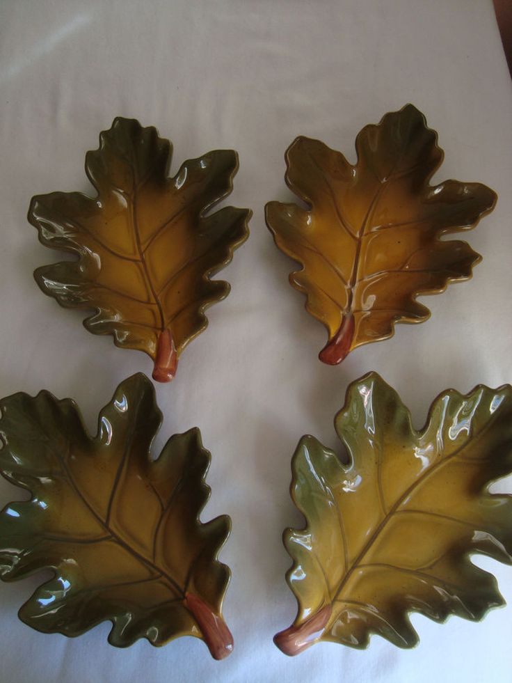 Thanksgiving Fall Set Of 4 Ceramic Harvest Oak Leaf Dishes