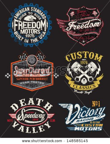 Motorcycle Themed Badge Vectors - stock vector
