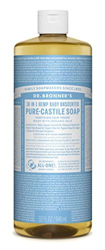 Dr. Bronner's Magic Soaps Pure-Castile Soap, 18-in-1 Hemp Unscented Baby Mild, 32-Ounce Bottle - http://essential-organic.com/dr-bronners-magic-soaps-pure-castile-soap-18-in-1-hemp-unscented-baby-mild-32-ounce-bottle/