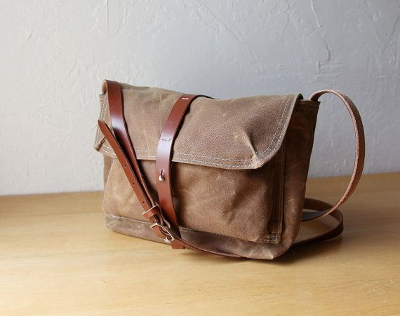 The Satchel in Saddle Brown Waxed Canvas // sized for iPad