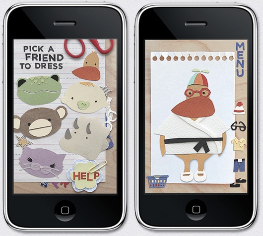paper town friends by robin rosenthal :: a dress-up game for iphone made entirely of paper