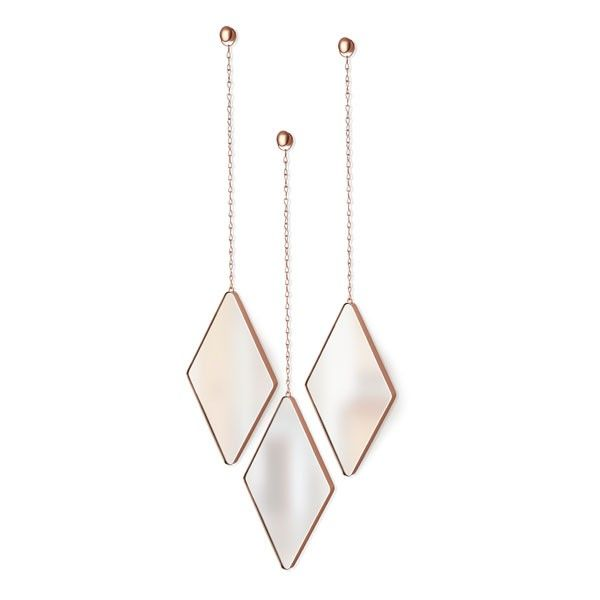 Umbra Dima Mirror Set - Copper - 3 hanging diamond shape mirrors