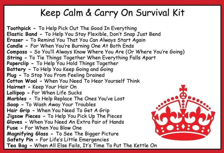 Keep Calm & Carry On Survival Kit In A Can. Build your own for times of crisis or simply need motivation.