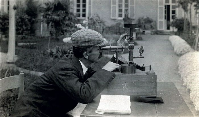 Domenico Pacini making a measurement in 1910 - Domenico Pacini (1878-1934) was an Italian physicist noted for his contributions to the discovery of cosmic rays.  (Image credit: Pacini family)
