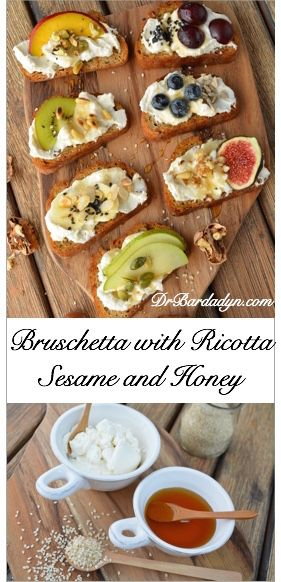 Bruschetta with Ricotta, Sesame and Honey - Low Calorie Recipes from DrBardadyn.com